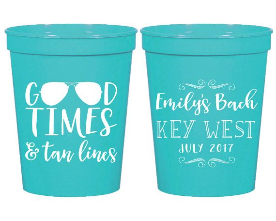 Bachelorette Cups Bachelorette Cups Girls Weekend Bridal Shower Custom Cups Key West Any Location Party Cup Bachelorette Cup 1664 by SipHipHooray