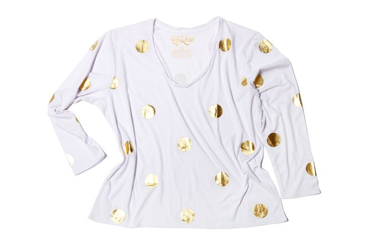 "CHAMPAGNE BUBBLES. ""I only drink Champagne on two occasions, when I am in love and when I am not"" – Coco Chanel  Round Neck Relaxed Fit  Signature Long Sleeve  Gold Foil Print  Blanc Vintage Wash Cotton (130GSM)  Ruby & Lilli Signature Twisted Neckline #RubyAndLilli"