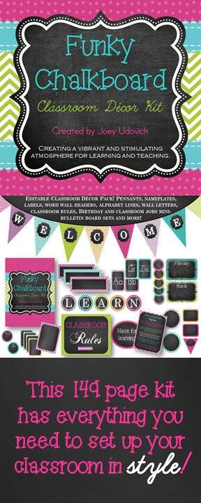 "149 pages of EYE catching room decor! 190 + pieces -- From editable pennants, nameplates, labels, and classroom rules...to print and cursive alphabet lines, word wall headers, and classroom job labels!  Come take a look!  If you have my ULTIMATE Teaching Binder, it's the perfect companion for the ""Funky Chalkboard"" theme! $"