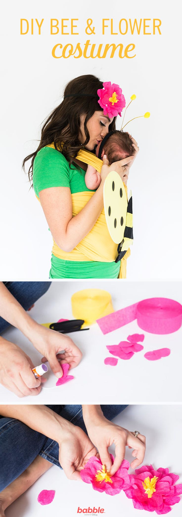 A homemade Halloween is always fun, but shortcuts sound even more appealing. Put a DIY spin on store-bought costumes for a fantastic makeover. This baby-wearing duo is so sweet! To create the Baby Bee and Mama Flower Costume, simply add a yellow baby carrier to the bee costume and create a flower headband with crepe paper or streamers.