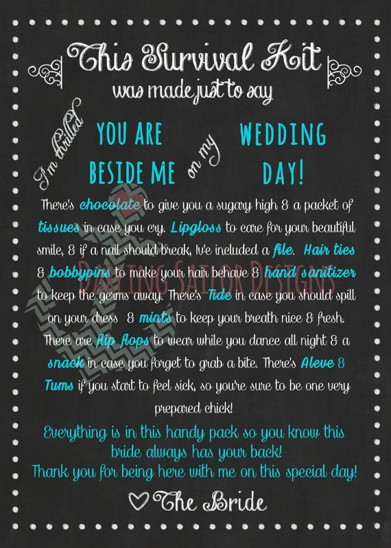 Instant Download Bridesmaid Survival Kit Poem Teal and by DarlingSailorDesigns, $3.00