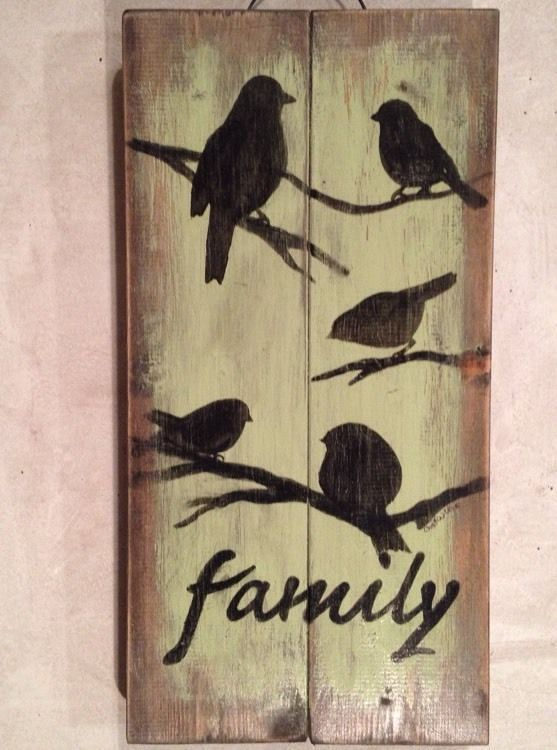 Family Bird Pallet Sign Pallet Art Primitive Rustic Country Picture Wall Decor | eBay