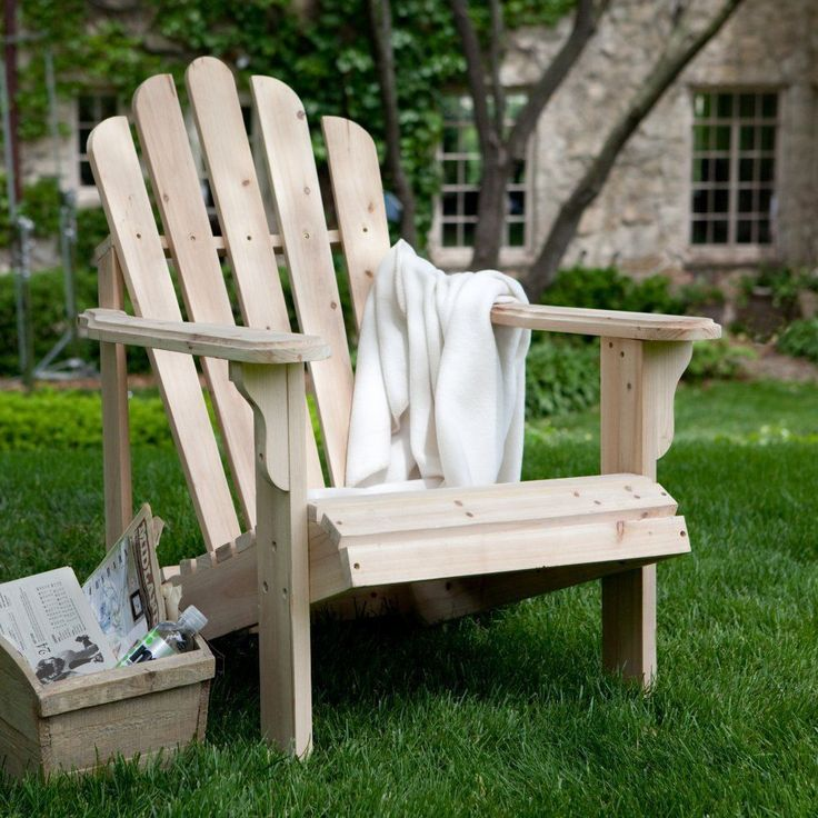 Wooden Adirondack Chair Coral Coast Hubbard Natural Unfinished, Sturdy Asian Fir #CoralCoast
