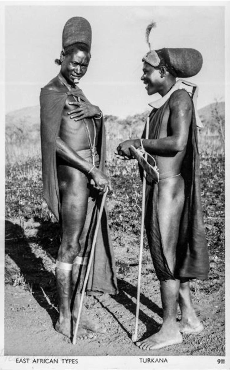 "Africa | ""East African Types - Turkana - No 911"". ca. 1950. | Vintage postcard; publisher S Skulina, Pegas Studio, Nairobi"