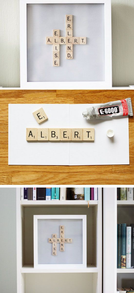 Scrabble Name Frame | 20+ DIY Christmas Gifts for Men | Easy Holiday Gift Ideas for Him