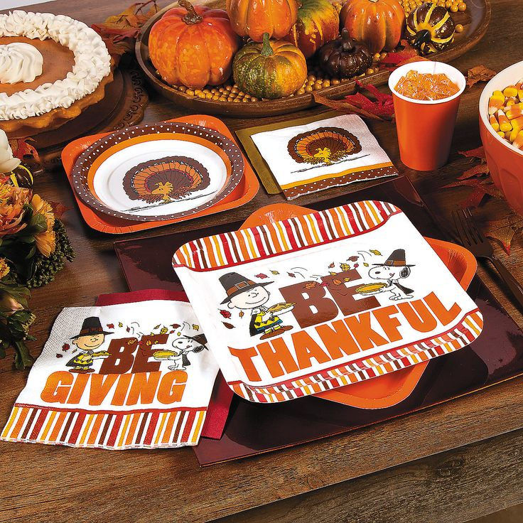 Peanuts  Thanksgiving Party Supplies - OrientalTrading.com Kids Table