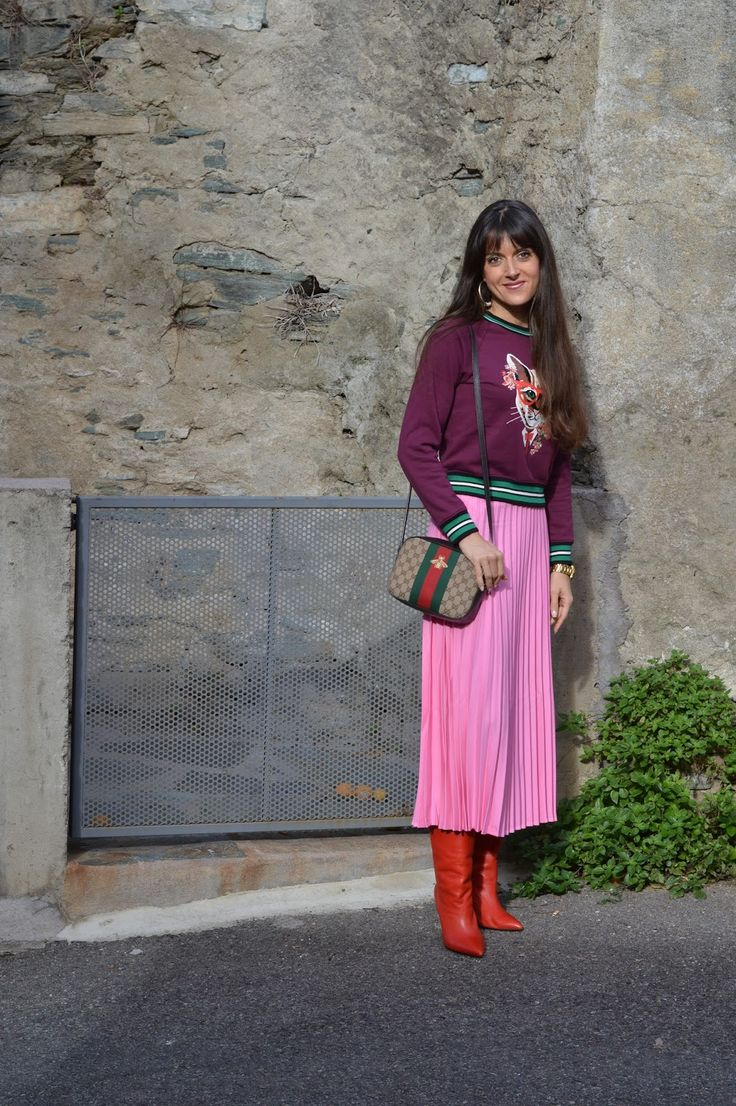 Cat Sweatshirt Bubble Gum Pink Pleated Skirt and Red Marant Boots