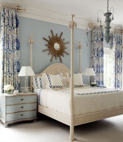 Lovely Blue and White Bedroom.  This wall color is similar to Serenity, one of Pantone's top two colors of the year for 2016.