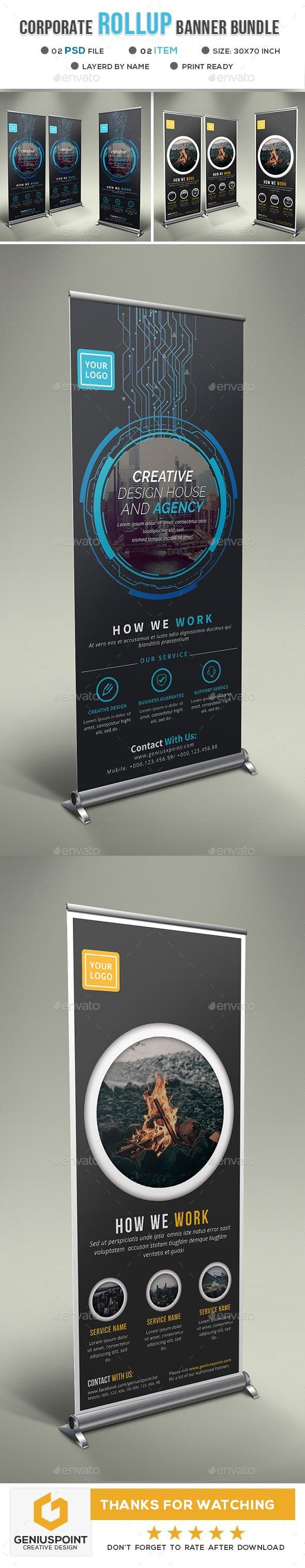 Corporate Roll Up Banner Bundle - Signage Print Templates  #banner #bundle #corp...