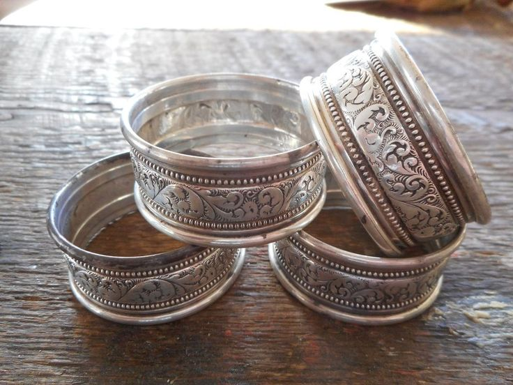 Lot Of 4 Anitque Napkin Rings Repousse Sterling Silver