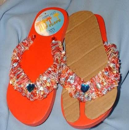 Bahamas Day- Glo Orange Flip Flops, size Sm