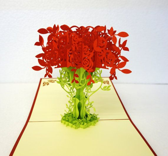 3D Roses Flower Bouquets Pop up Card Pop up Flower by PopupCardvn