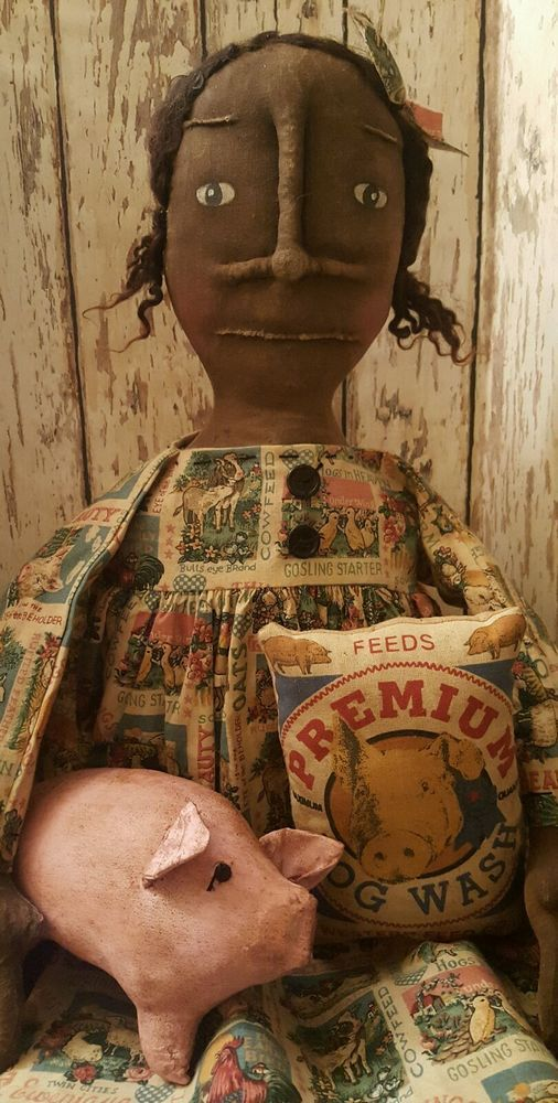 Primitive Black Doll w/ Pig & Feed Sack #BlackFolkArt