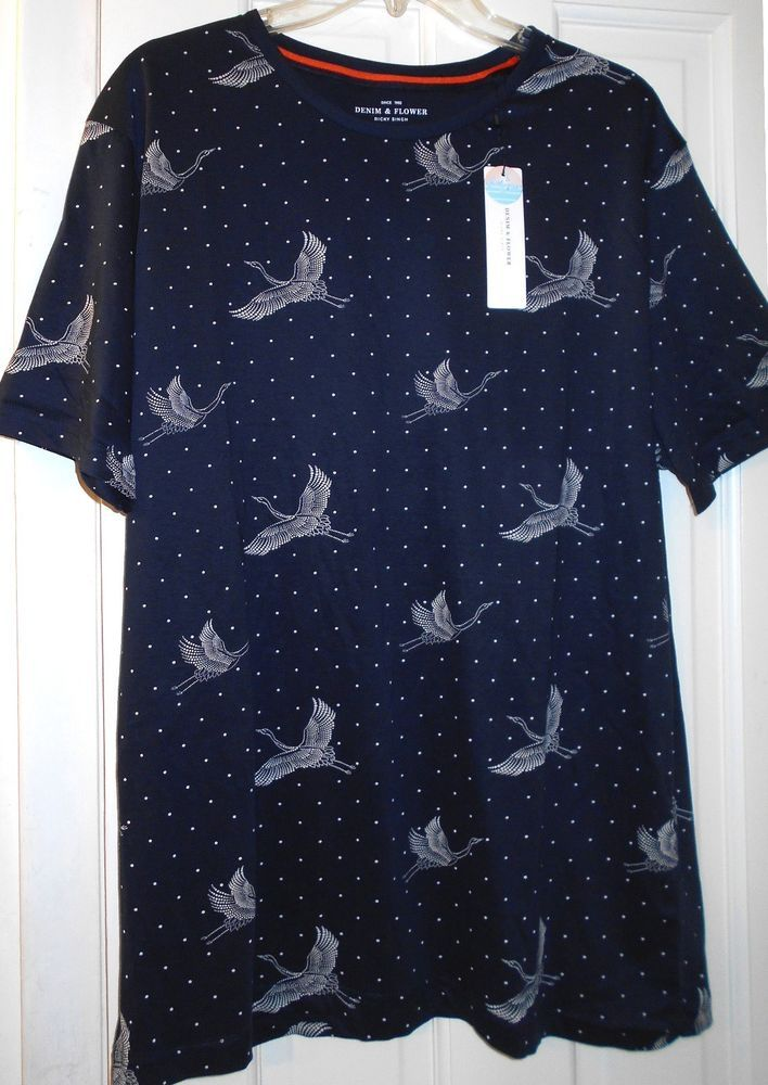 6087f70f50 NEW Denim   Flower Ricky Singh Bird Crane Egret Blue T- Shirt~ L XL~FREE  SHIP!