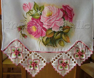 Artes em Crochê e Pintura: Croche,Pintura em tecido rosas