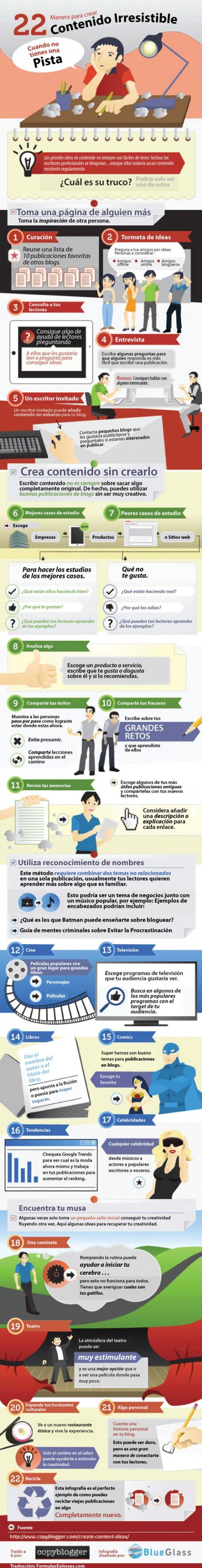 Infografía en español que muestra 22 consejos para crear contenido en redes sociales