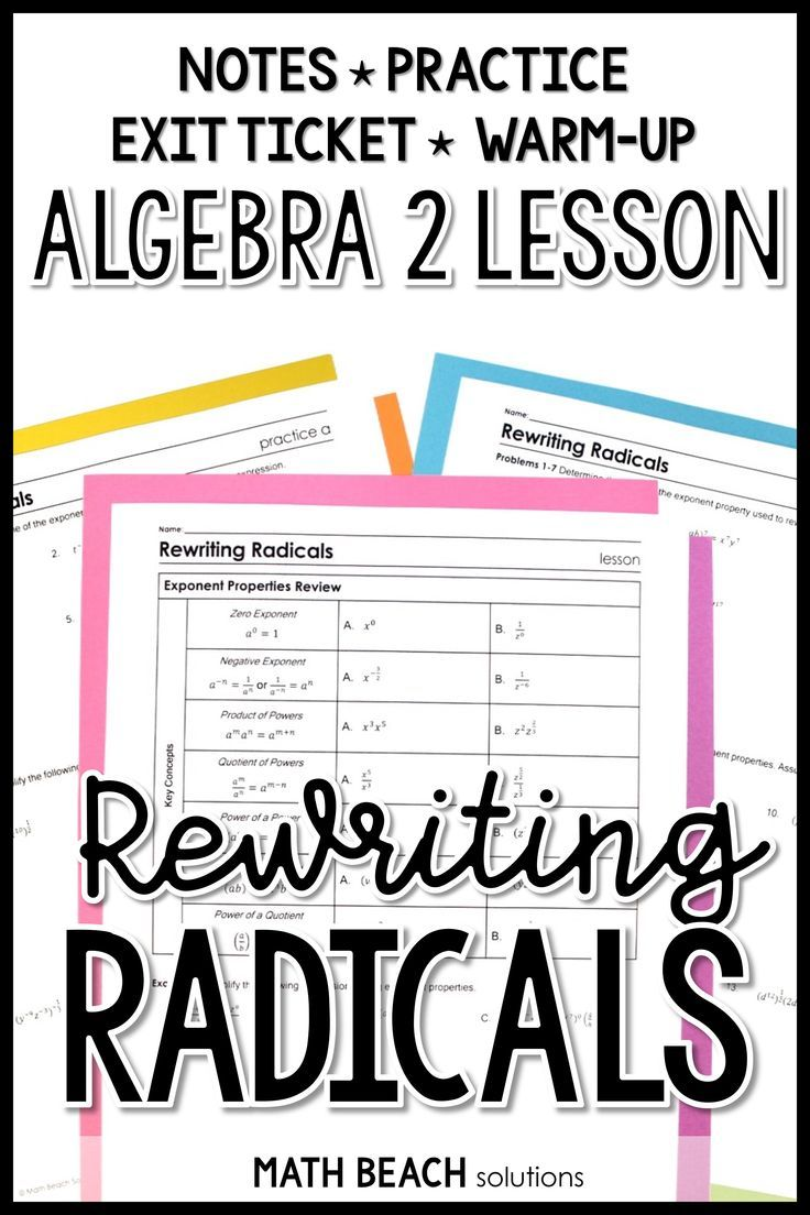 How Do You Get Students Prepared For A Unit On Radical Functions Teach A Lesson On Rewriting Radicals Using R Radicals Math Education Math Radical Expressions