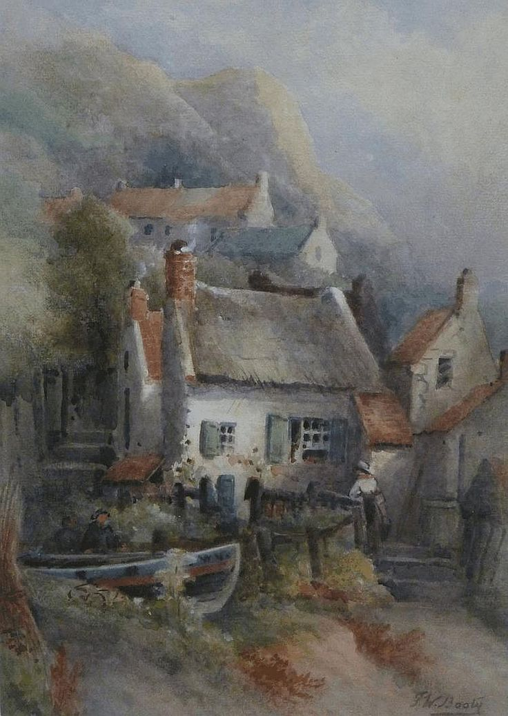Frederick William Booty (1840-1924): Cottages at Runswick Bay