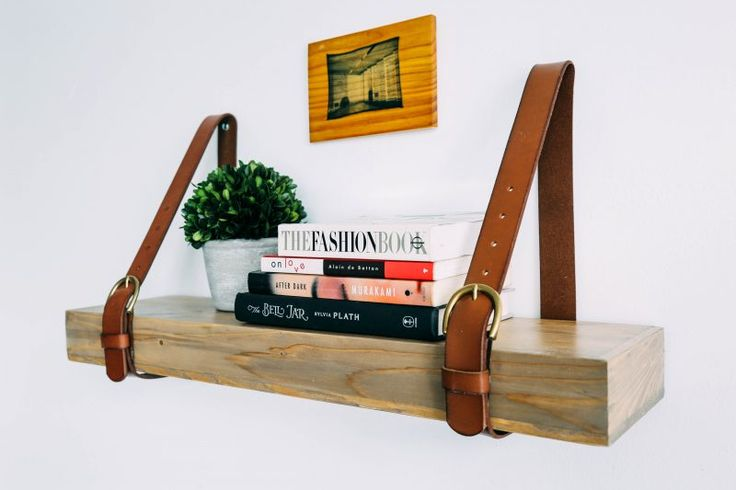 Belt Upcycle: Leather Strap Shelf