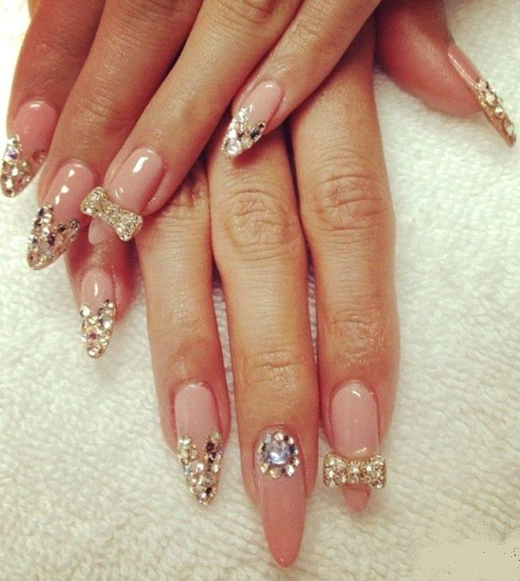 pointed acrylic nail designs 2014