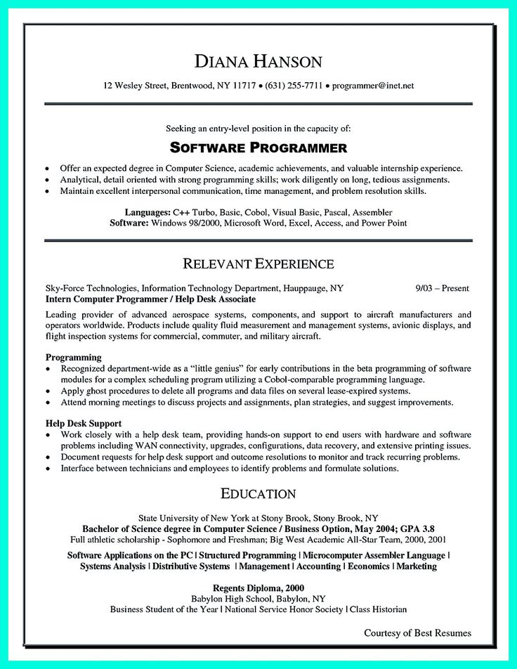 what you will include in the computer science resume depends on the training as well as - Best Resume Sample
