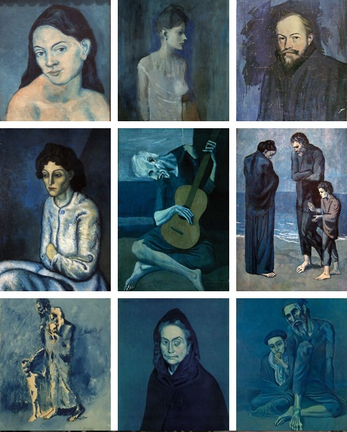 Picasso's Blue Period | search of redemption, his friend Cassagamos suicidal, Picasso taking over his identity, devastated; descent into Schizophrenia, after 3 years 'he is paining his way out of the trauma'