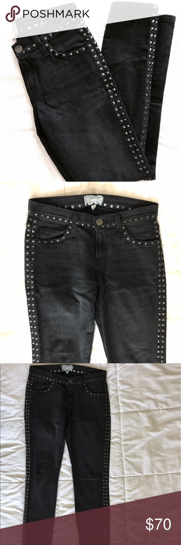 CURRENT ELLIOT The Crop Skinny Studded Jeans 24 Current Elliot Cropped Skinny with Studs on the sides. Worn maybe 4 times! Keep in mind may be heavy to ship with Studs (not positive) I worked in retail for many years and these were cared for properly. Current/Elliott Jeans Ankle & Cropped