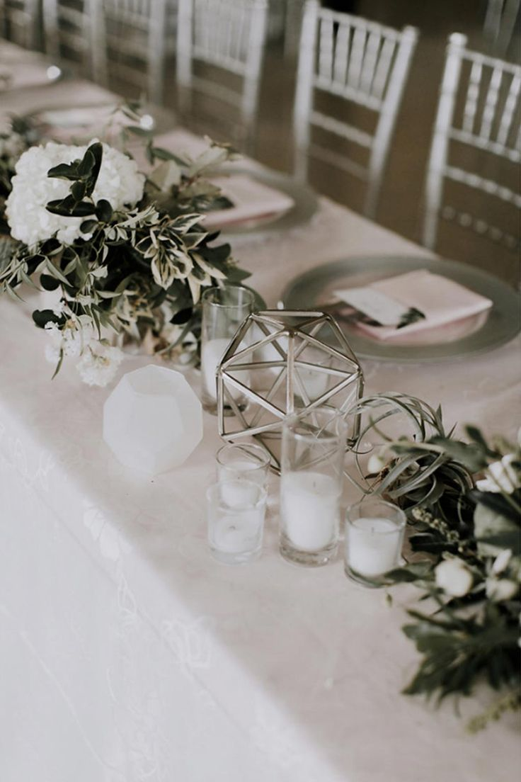 Long Head Table With Silver Chiavari Chairs Faceted