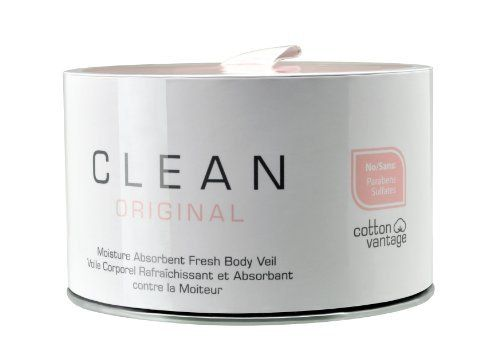 Clean Original, Fresh Body Veil, 3.8 Ounces by Clean. $26.67. This is not your grandmothers powder!. Stay cool and dry. Wicks away moisture to help prevent wetness and protect delicate fabric. CLEAN Moisture Absorbent Fresh Body Veil is not your grandmother's powder! This next-generation lightweight body powder creates an invisible, delicate veil between skin and clothing, wicking away moisture continuously throughout the day to help prevent wetness and protect delicate fabric...