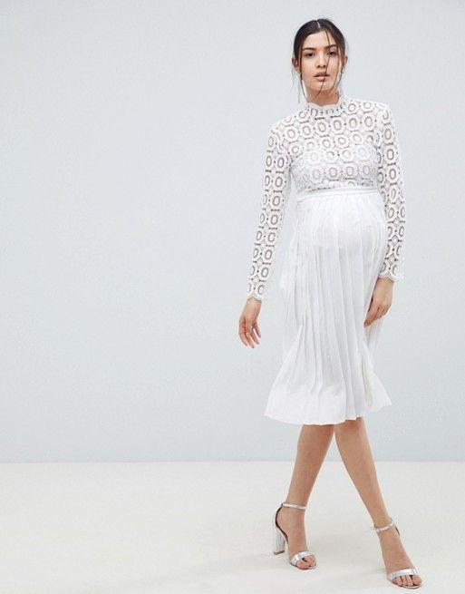 d647bd002a2d2 Little Mistress Maternity | Little Mistress Maternity 3/4 Sleeve Lace Top  Pleated Midi Dress