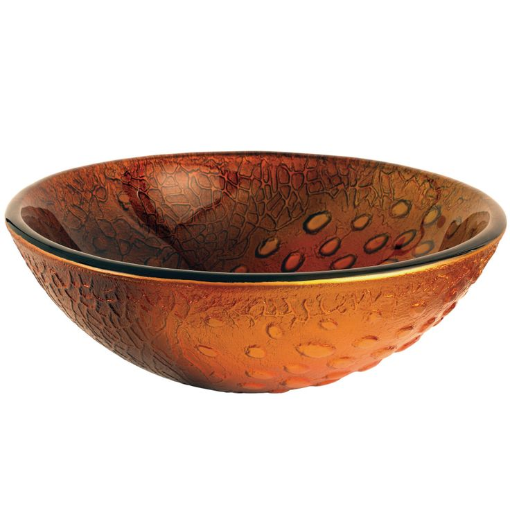 "Fauceture EVSPFB8 Amber Drops 16-1/2"" Diameter Round Glass Sink, Copper Amber - Price: $189.95 & FREE Shipping over $99     #kingstonbrass"