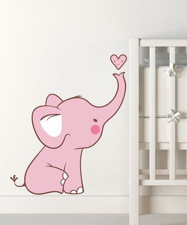 Take a look at this Pink Baby Elephant Wall Decal by LolliPOP Walls on #zulily today!