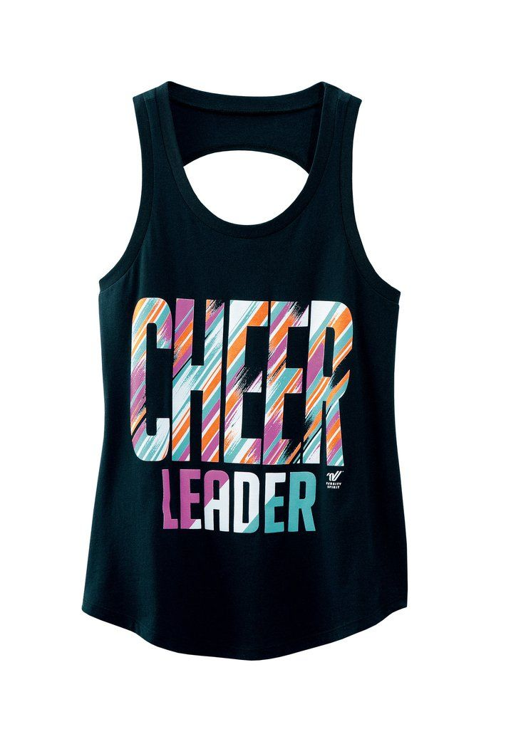 This trendy multi-color black tank with fun open back detail is stealing the show for cheerleaders this year. Pair it up with a neon sports bra top with fun strap design with the open back top.