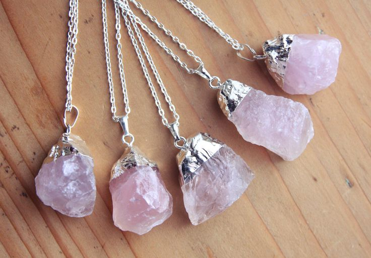 Silver Dipped Rose Quartz Crystal Necklace - Raw Chunky Large Rough Pastel Pink Lilac with Sterling Silver Plated Chain, Natural Layering by kissthefuture on Etsy https://www.etsy.com/uk/listing/179960667/silver-dipped-rose-quartz-crystal