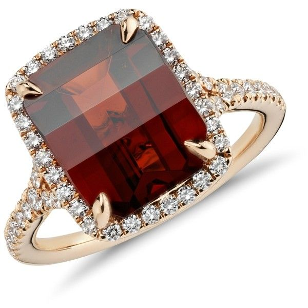 Blue Nile Garnet and Micropavé Diamond Ring in 18k Rose Gold ($2,000) ❤ liked on Polyvore