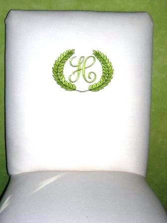 Monogrammed Crest On Dining Room Chair