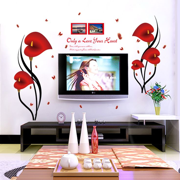 Creative 3d diy flower wall sticker with big beautiful flower for room decoration tv sofa background
