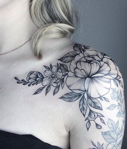 15 Graceful Flower Tattoos on Shoulder for Girls