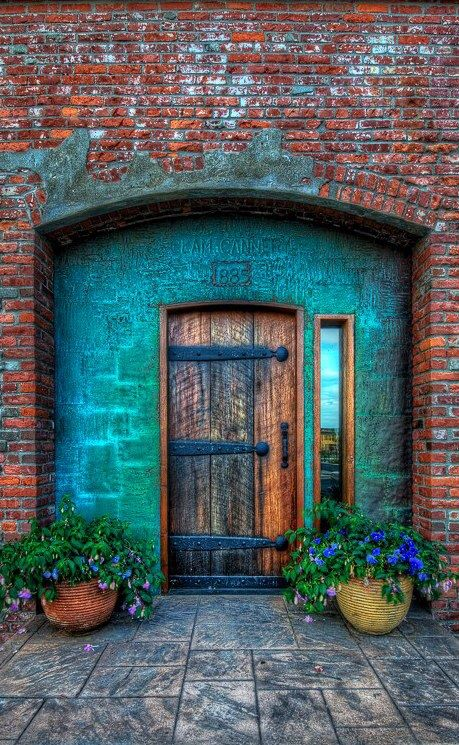 Clam Cannery door, Port Townsend, Washington - Picture Colors :: Aqua, Brick Red, Tan, Green, Orange