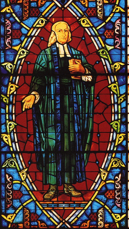 Image of John Wesley, Lois Perkins Chapel stained glass window, Southwestern University.