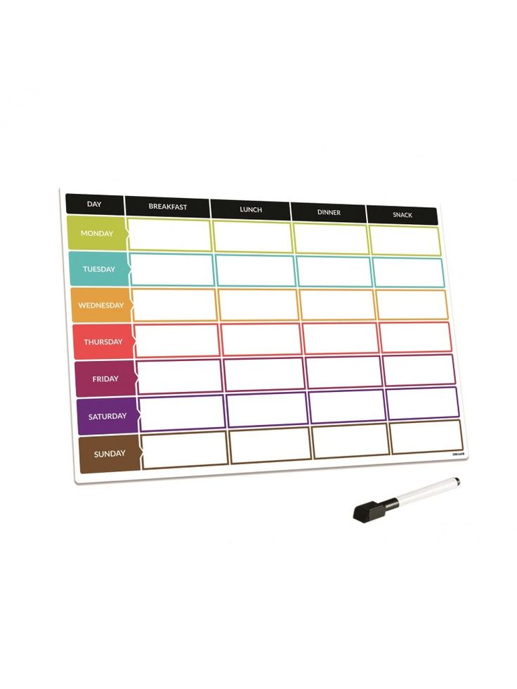 Meal planner that will stick to a fridge or other metal surfaces. This drywipe whiteboard planner has magnetic and includes a free marker pen. An excellent way to plan family meals or helping you with a strict diet. Meal prep is a great way to save money and having this magnet board on your fridge is the best place to have it. A must for an organised parent
