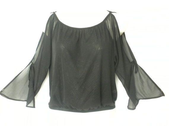 Vtg 90s Black Open Shoulder Bell Sleeve Sheer Mesh by DJVboutique