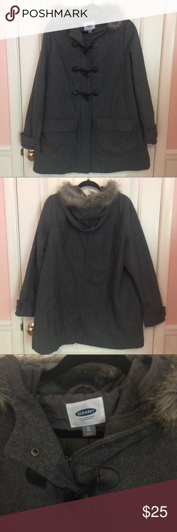 Old Navy Gray Toggle Coat with Fur Hood Old Navy gray wool winter coat with faux fur lined hood, full zip front, black faux leather toggle detail, and cuff detail. Great condition from a smoke-free home. Offers accepted and encouraged! Old Navy Jackets & Coats Pea Coats