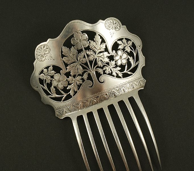 1850 Silver hair comb. Stunning. I want something like this.