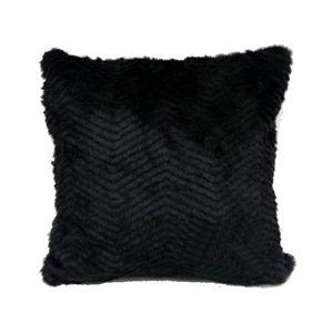 Rayure noir imitation oreiller de fourrure coussin 45*45cm seul côté