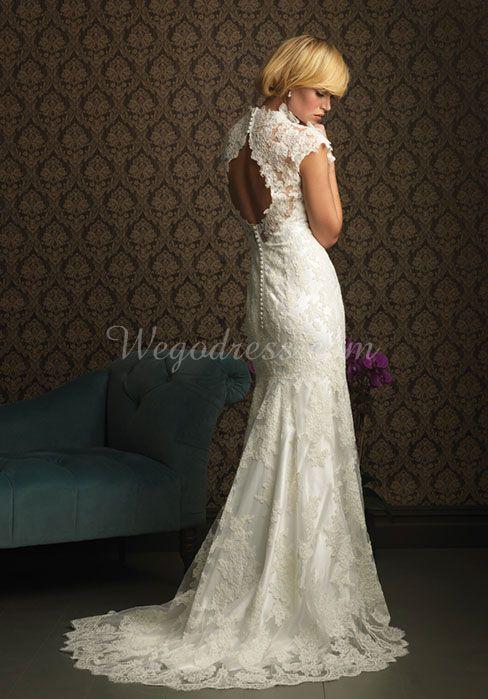 lace a-line high neck cap sleeves floor-length sweep train wedding dress - Wegodress.com