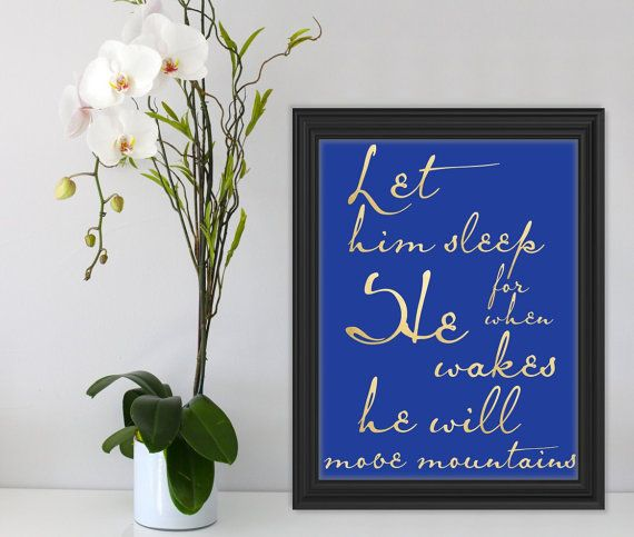 Let him sleep.. Gold Naby Blue Wall Art Quote Printable by Suselis