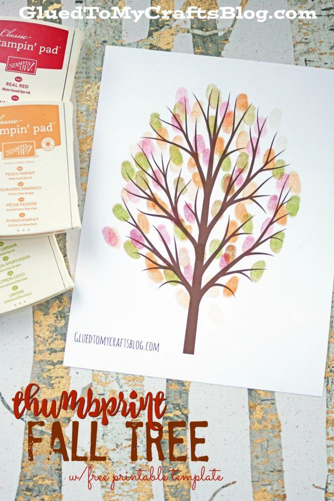 thumbprint fall tree kid craft idea pinterest fall trees free