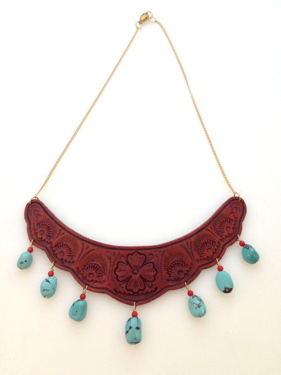 Tooled Leather Necklace with Turquoise and Coral by TILTadornments