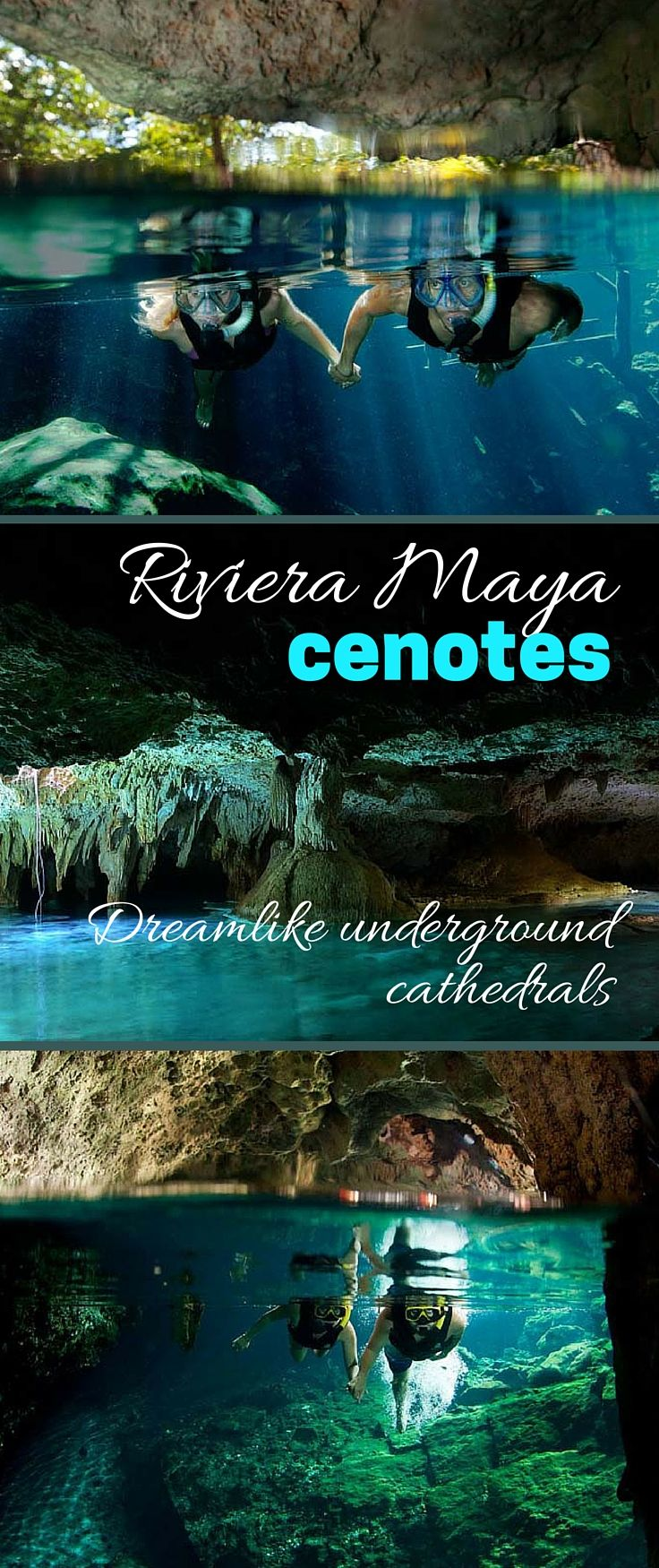 RIVIERA MAYA, Mexico | With their stalactites and stalagmites, and pools of water shining an unearthly blue, Riviera Maya cenotes look like wondrous underground cathedrals. You can swim and snorkel inside many!